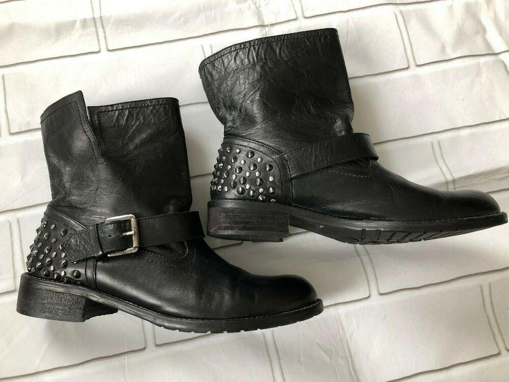 df05e3e40a7 eBay link) Le Gatie Collection Black Biker Boots Studded Ankle Strap ...