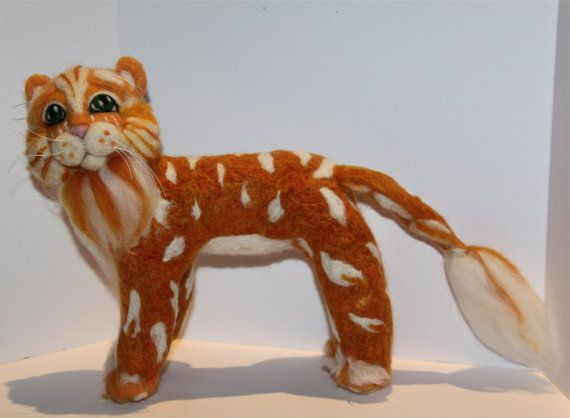Felted Marmalade Cat Handmade One of a Kind by KoolKrazyKats