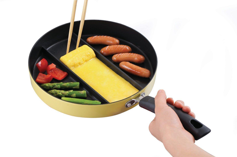 Frigideira antiaderente com 3 compartimentos para preparar diferentes alimentos ao mesmo tempo - Hiper Original