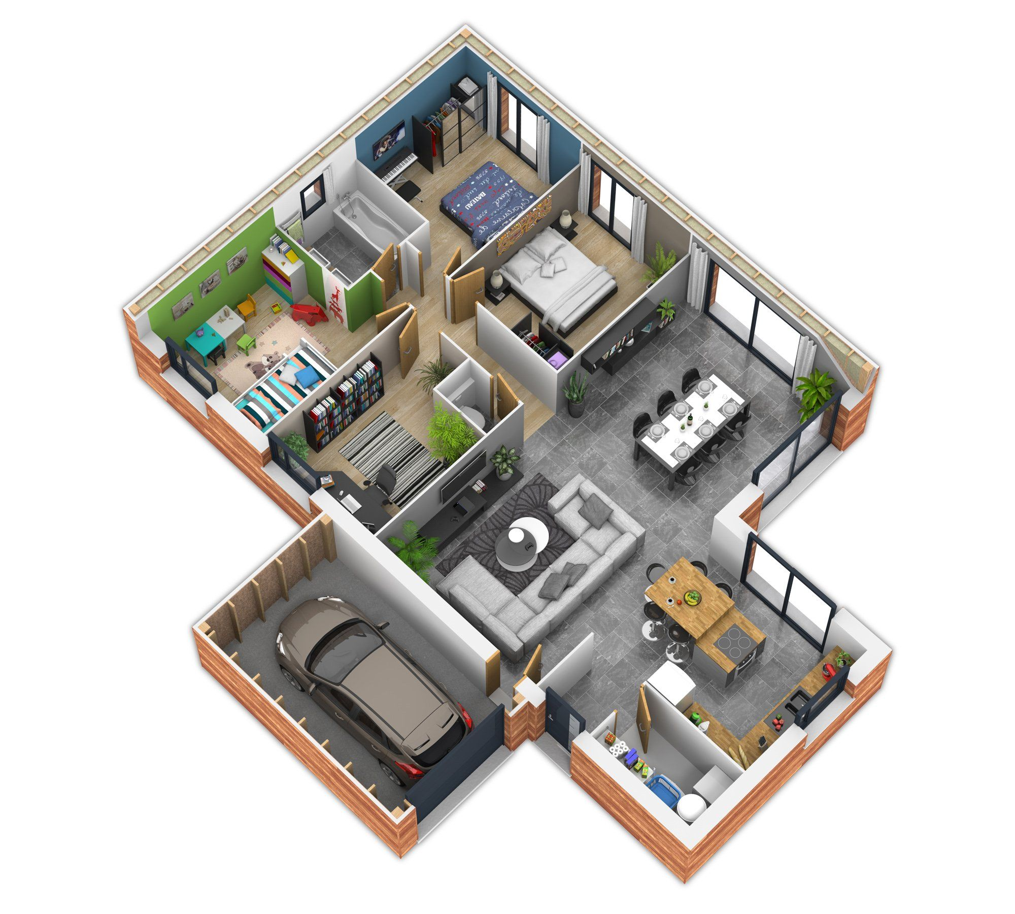 Intérieur 2 Bhk House Plans 3d House Plans New House Plans
