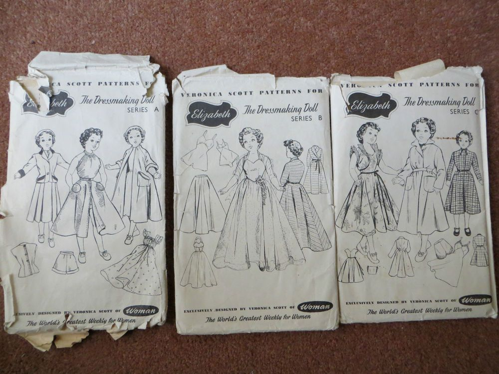 3 x Veronica Scott Elizabeth Pedigree Doll Sewing Patterns - Vintage ...