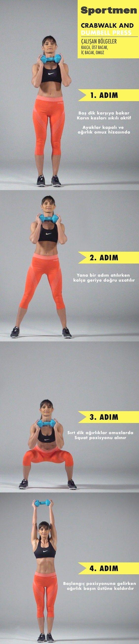 Kalça, üst bacak, iç bacak ve omuz kaslar?n? çal??t?ran Crabwalk And Dumbell Press egzersizi nas?l y...
