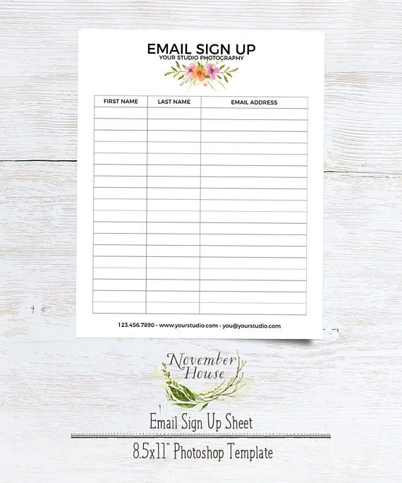 Email Sign Up Sheet Photography Forms Plus Studio Stationery - email signup template
