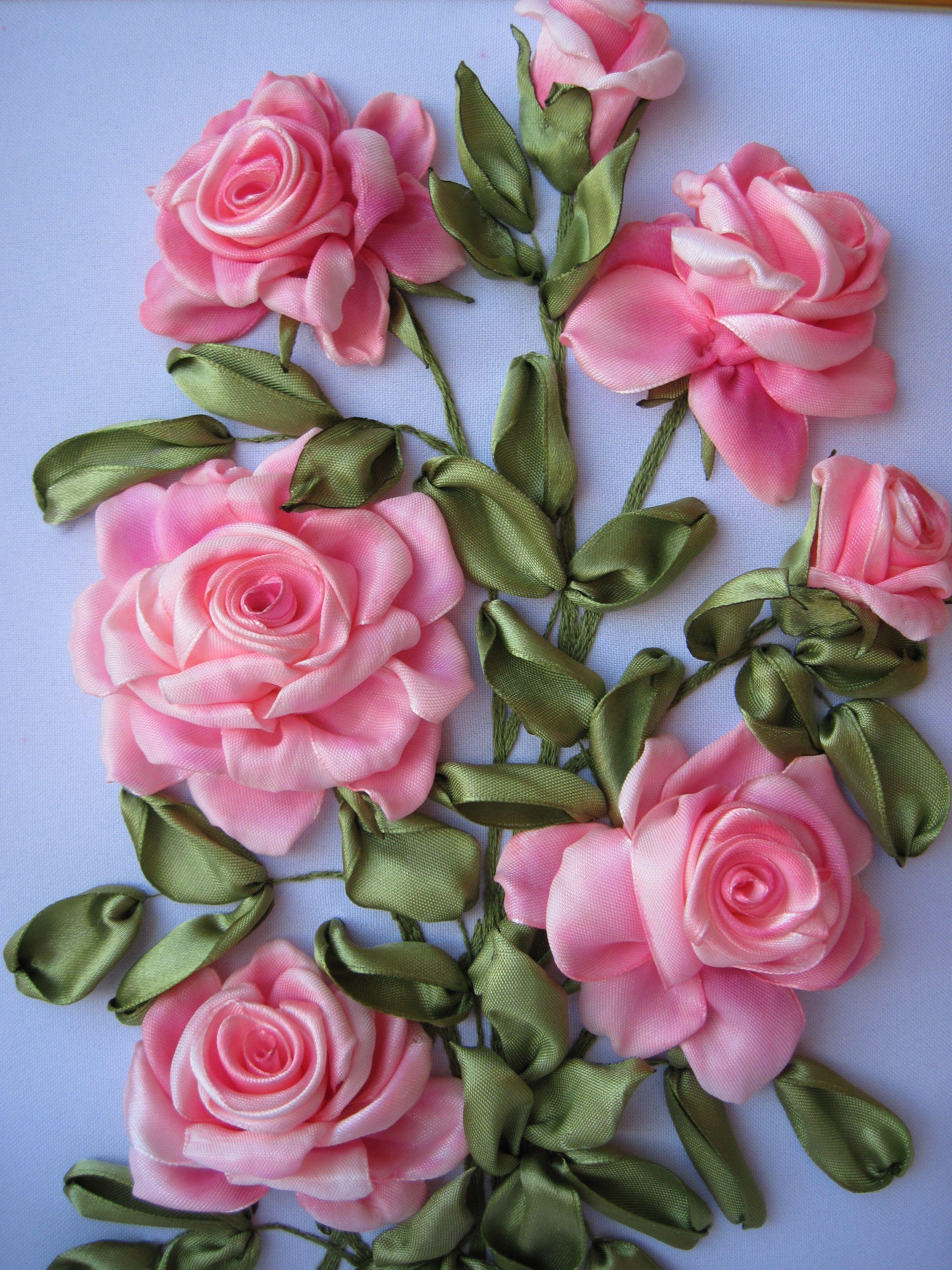 Поделки, картинки с цветами из лент