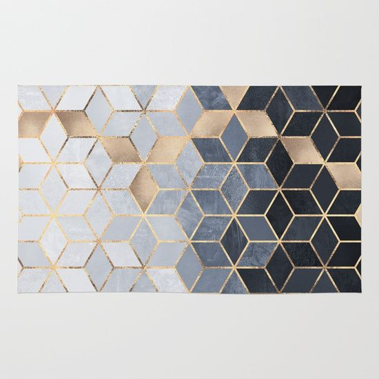 Soft Blue Gradient Cubes Rug Geometric Rug Quality Area Rugs Rugs