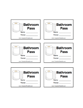 School Bathroom Passes Printable a sheet of six illustrated bathroom passes with room for the