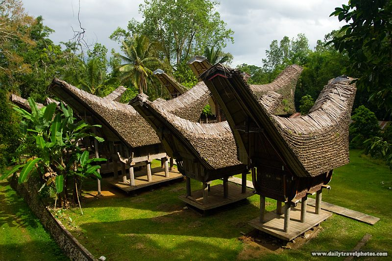 Tongkonan, traditional peaked roof boat houses, of the