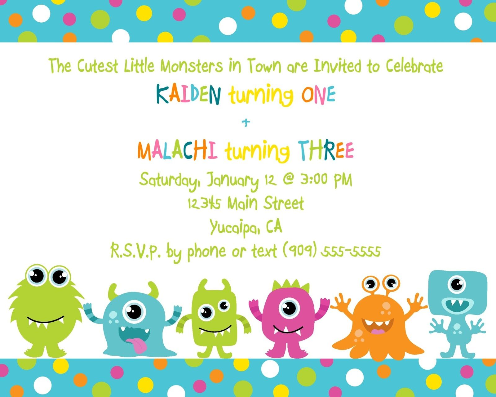 Cute Little monster birthday invitation printable