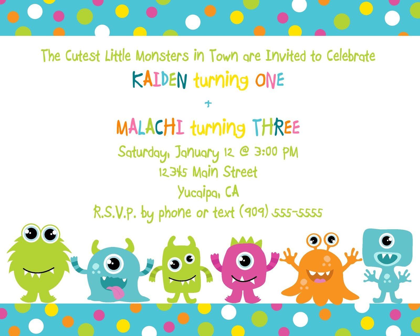cute little monster birthday invitation