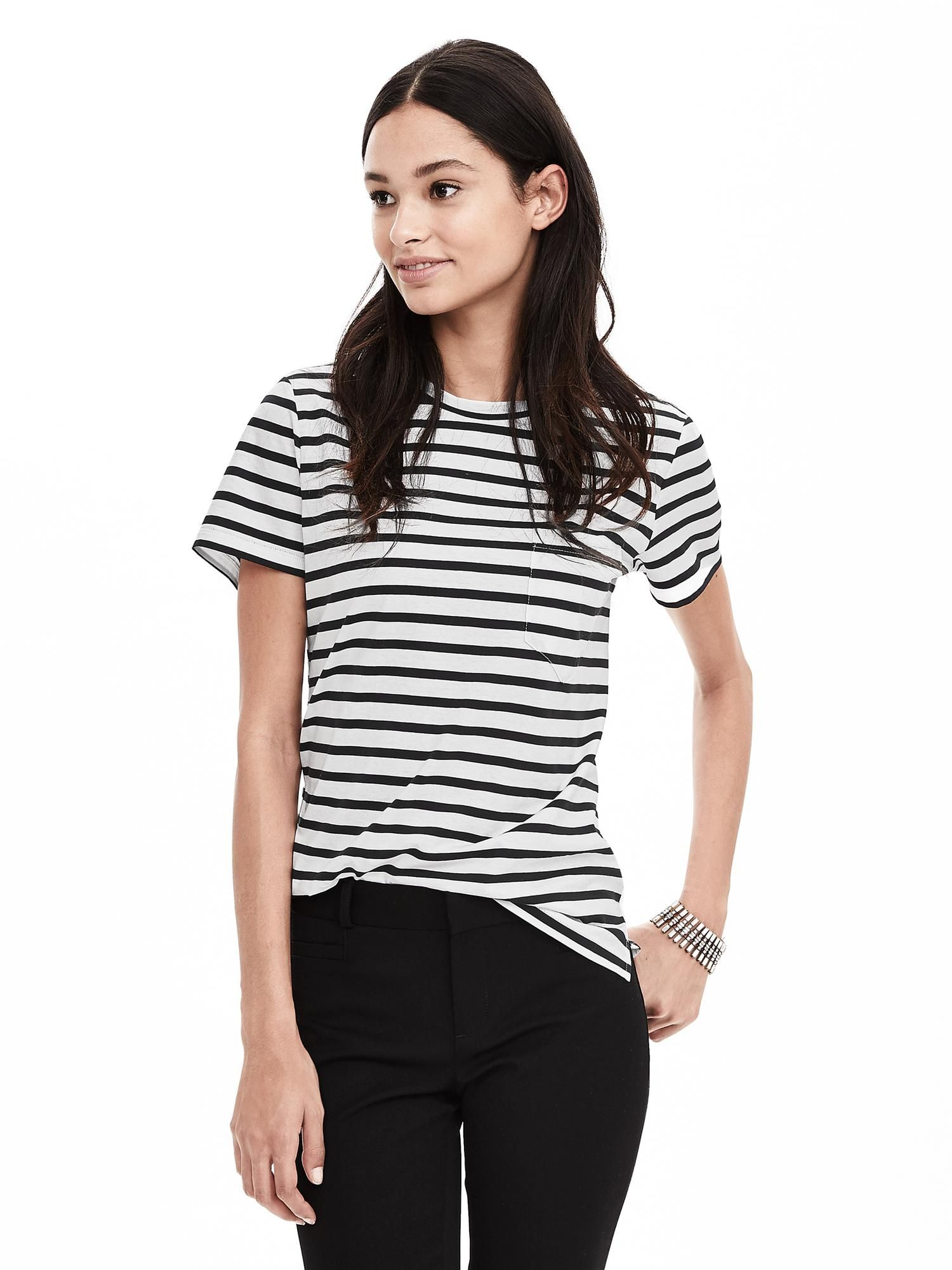 Banana Republic striped tee Womens stripes, White cotton
