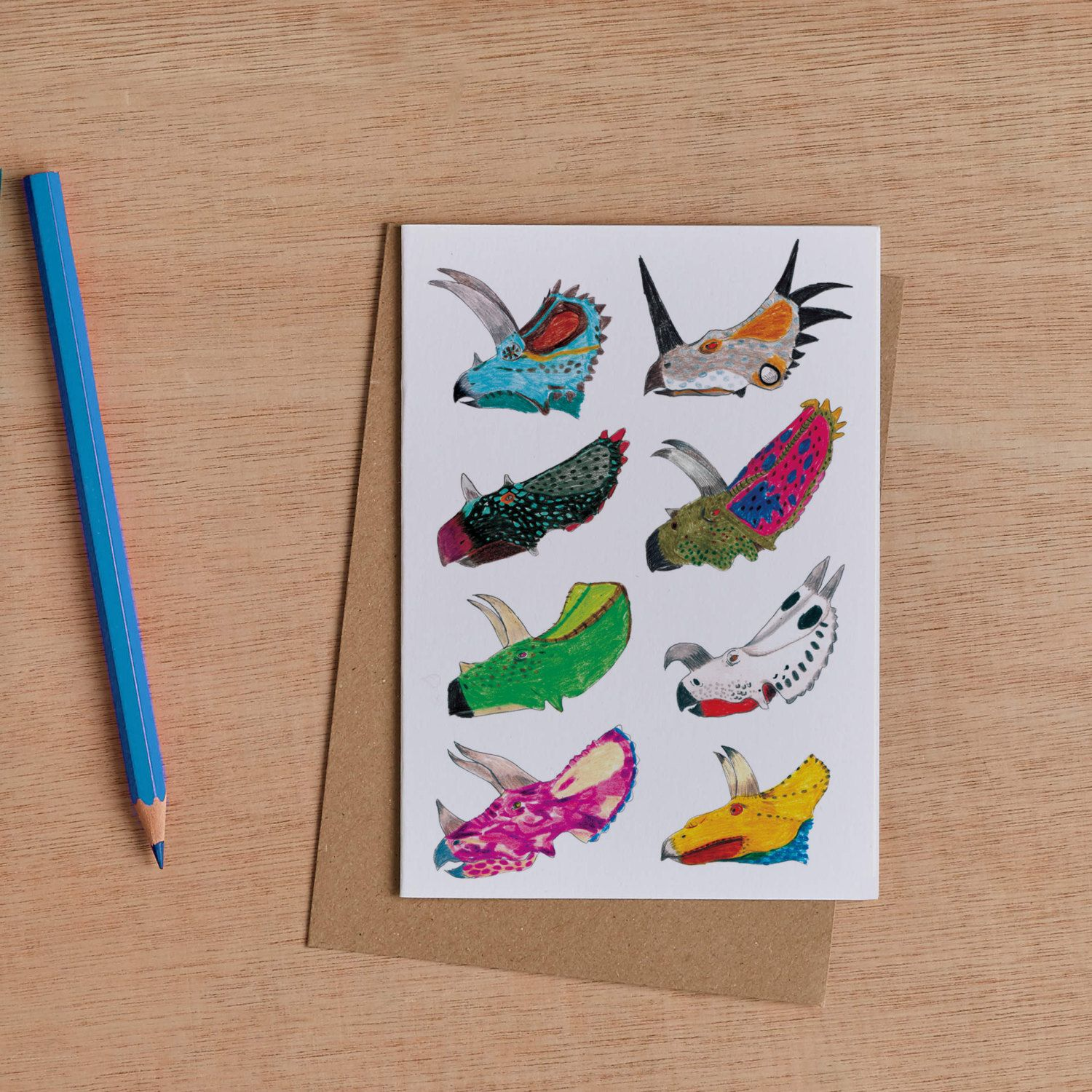 Ceratops greeting card by jamesbarkerdraws on etsy etsy shop this dinosaur card is a collection of the different types of bright and colourful ceratops species that once roamed the perfect greetings card for any old kristyandbryce Images