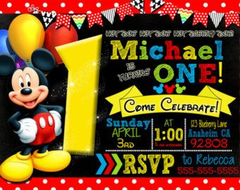 Mickey Mouse Invitation By LittleBeePartyDesign Stickers First Birthday