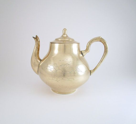 Pair of Vintage Brass Etched UniqueTeapots