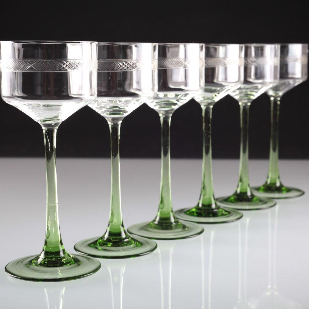 6 Vintage Jugendstil Weingläser Stengel grün Rieslinggläser