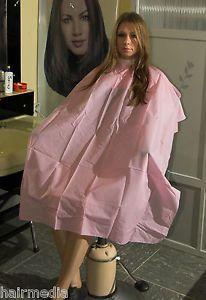 Shampoo-Cape-Friseur-Waschumhang-gross-Polyester-Hoyer-pink-Raritaet-a0025