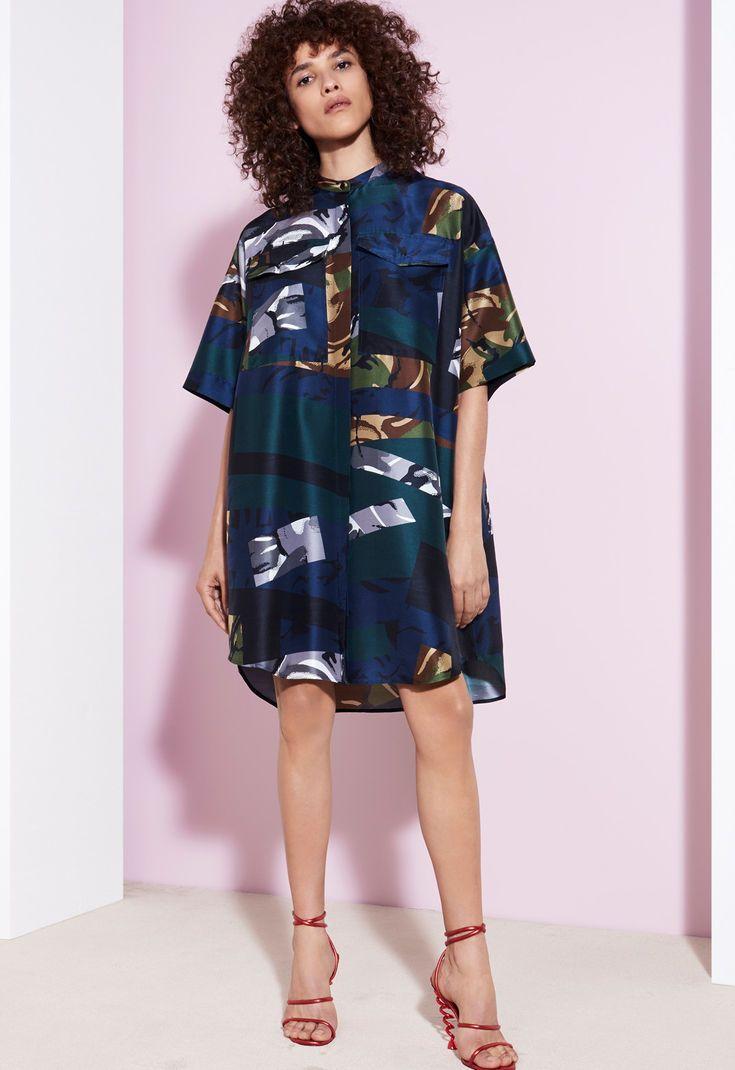 Broken Camo' silk Dress for OUTLET Kenzo | Kenzo.com