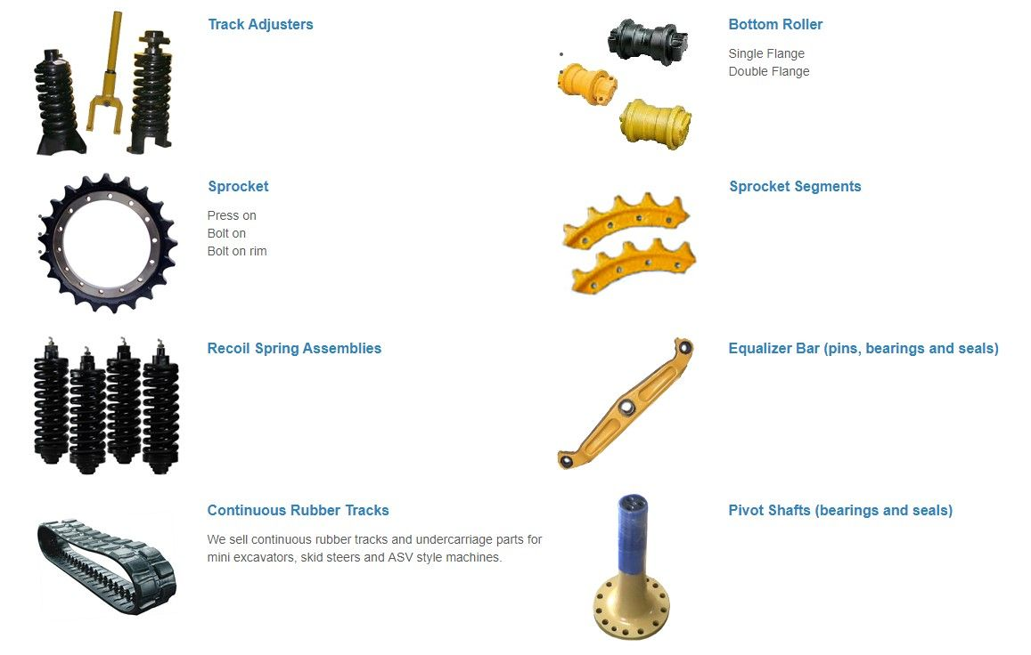 Continuous rubber tracks, polyurethane & rubber pads, chains (track