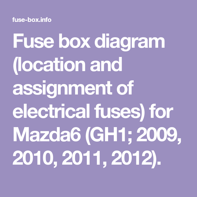 Fuse Box Diagram Location And Assignment Of Electrical Fuses For Mazda6 Gh1 2009 2010 2011 2012 In 2020 Fuse Box Honda Civic Electrical Fuse