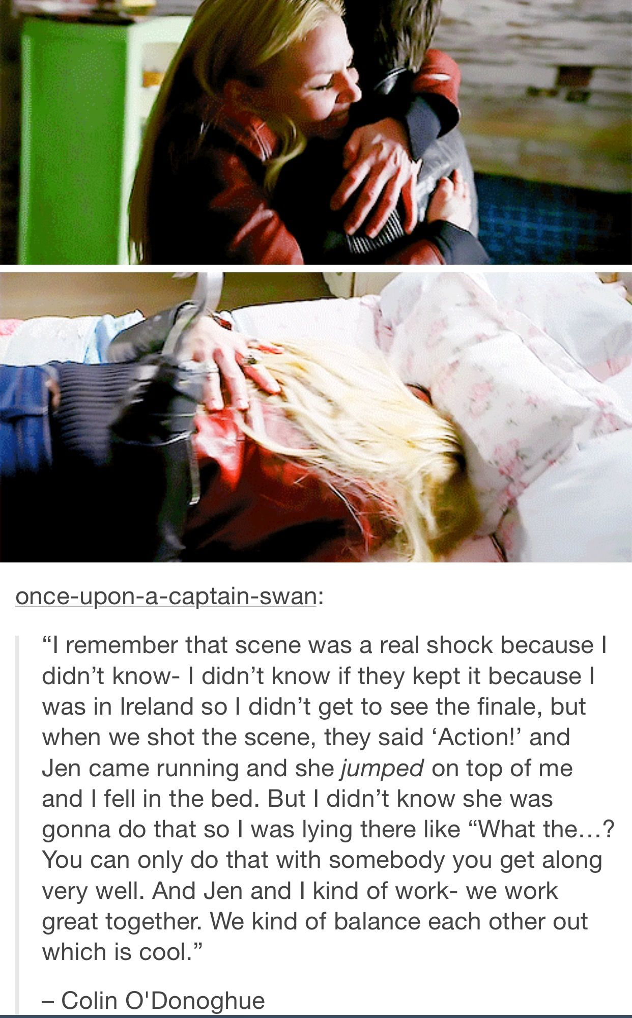 "Oh my gosh, I love how Jen improvised this iconic ""bed scene""!! Seriously, so adorable."
