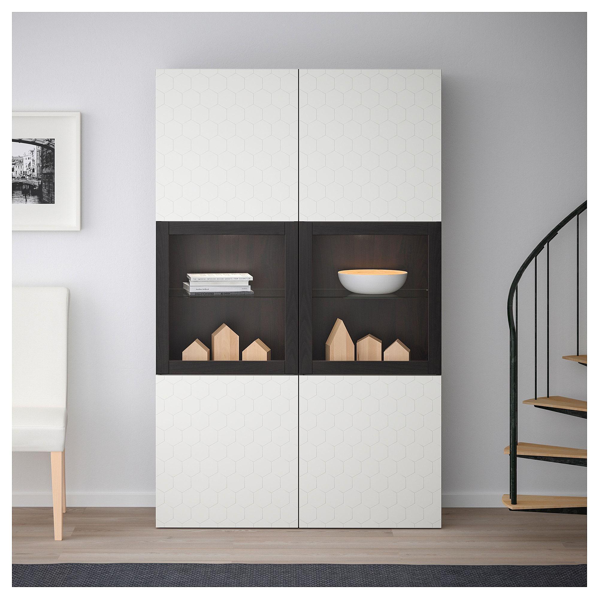 Ikea Best 197 Storage Combination W Glass Doors Black Brown