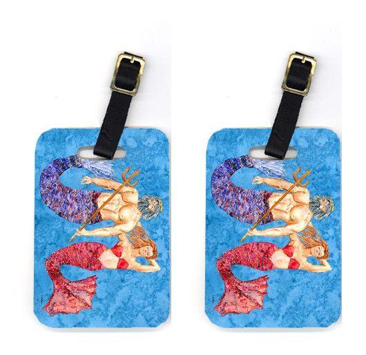 Pair of Mermaid and Merman Luggage Tags
