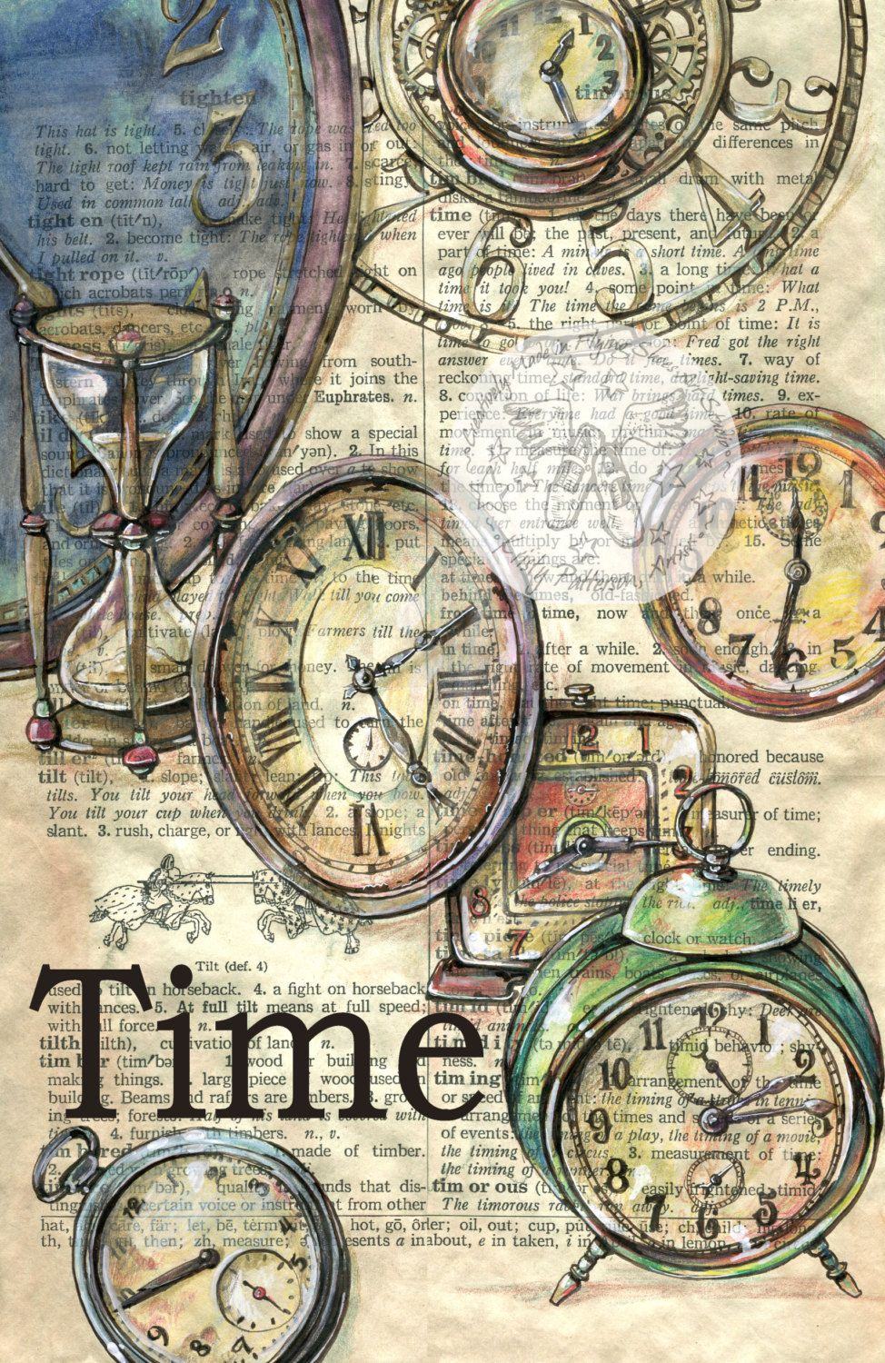 Print Old Clocks Drawn On Dictionary Page By Flyingshoes On Etsy