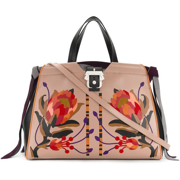 Paula Cademartori large floral patterned tote (15 680 SEK) ❤ liked on Polyvore featuring bags, handbags, tote bags, genuine leather tote, leather handbag tote, leather tote purse, leather handbags and tote purses