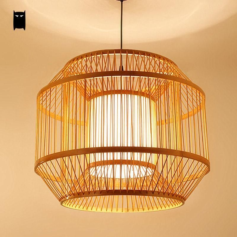 Round Bamboo Pvc Lantern Lampshade Pendant Light Fixture Asian Lamp Dining Room Soleilchat