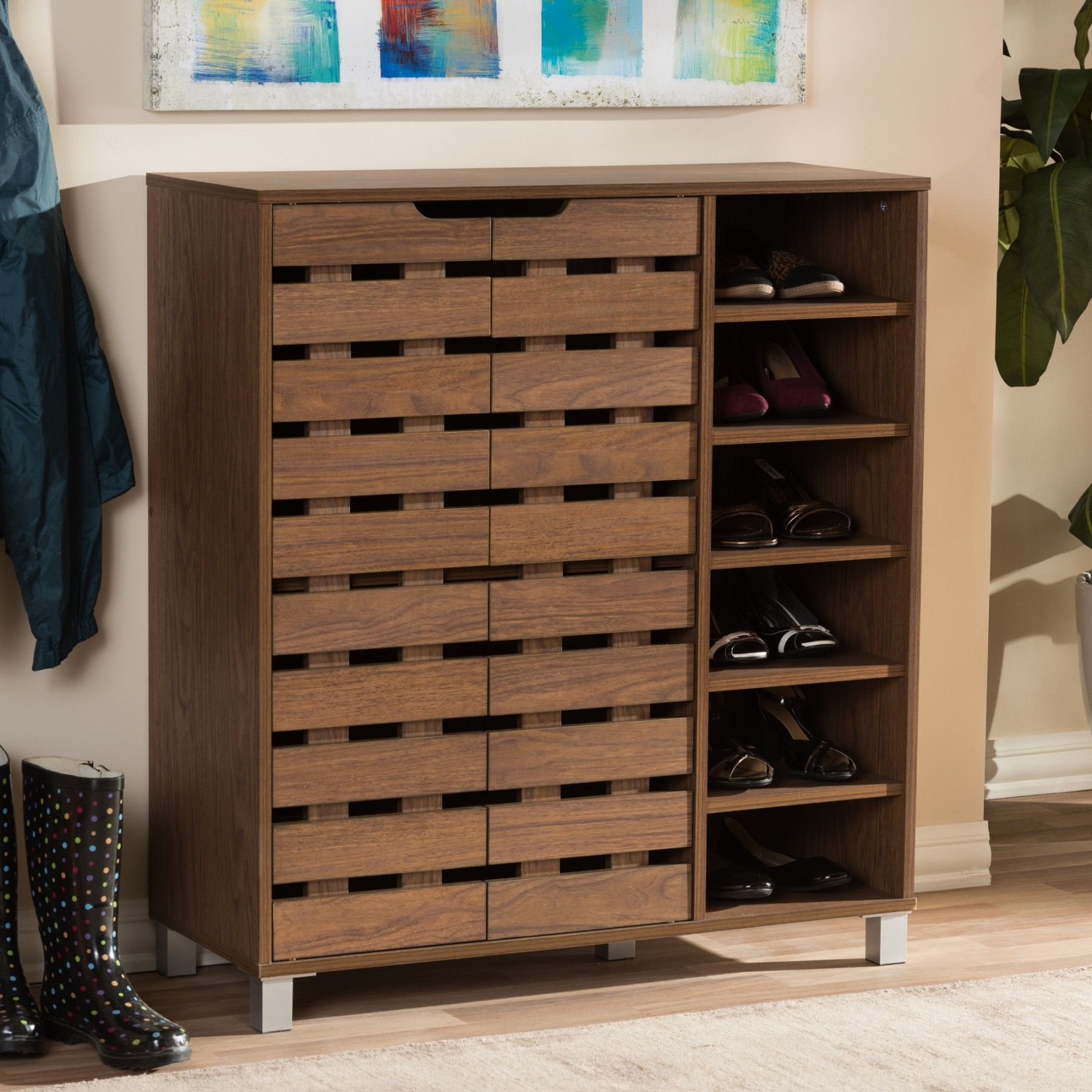 Baxton Studio Shirley Walnut Medium Brown Wood 2 Door Shoe Cabinet