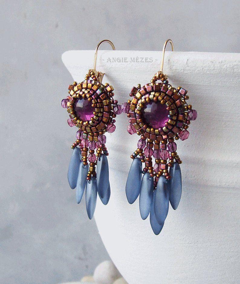 Beaded Earrings Diy Kit Bead Embroidery Earrings Tutorial Etsy