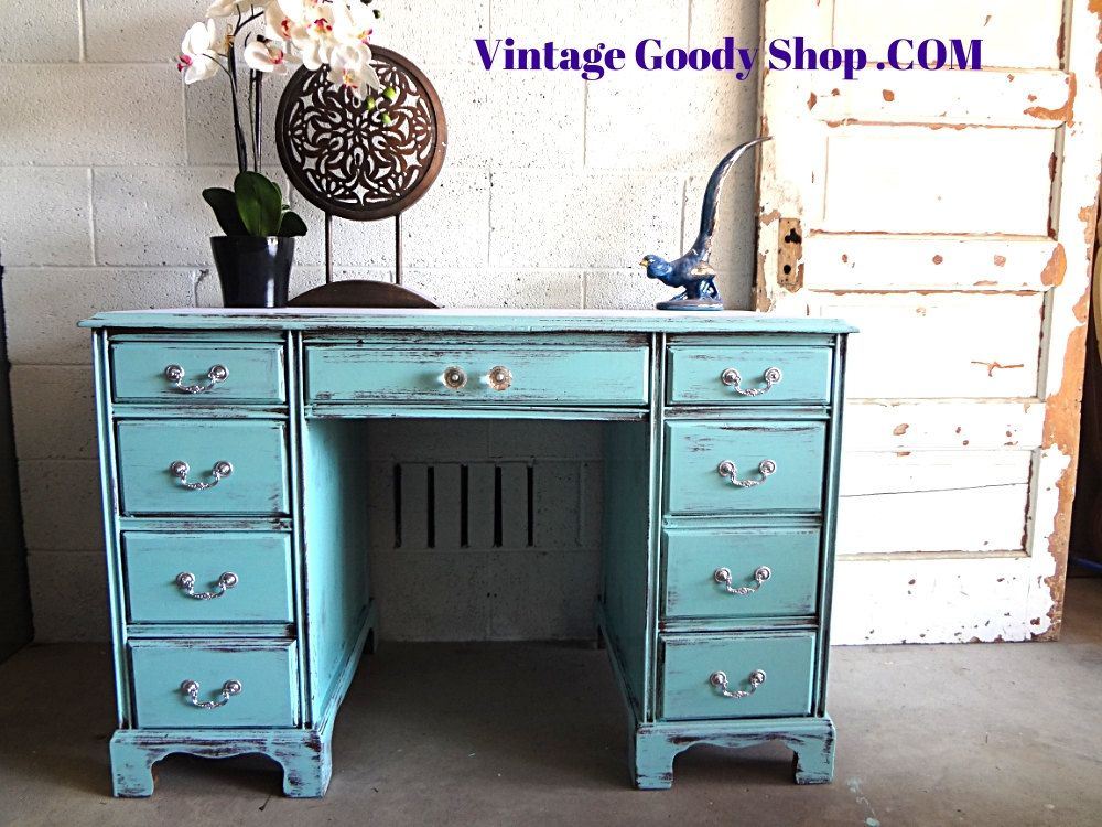 TIFFANY BLUE Desk Shabby Chic Desk or by TheVintageGoodyShop