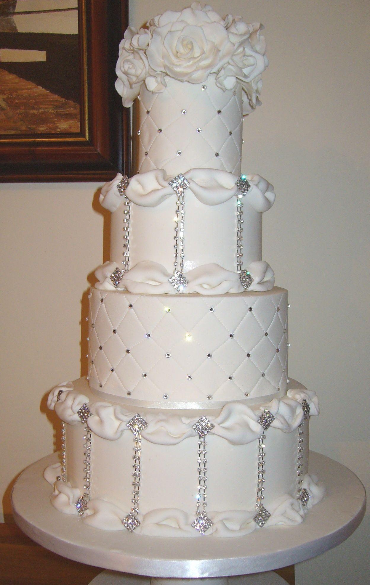 Four tier wedding cake with diamante and Swarovski