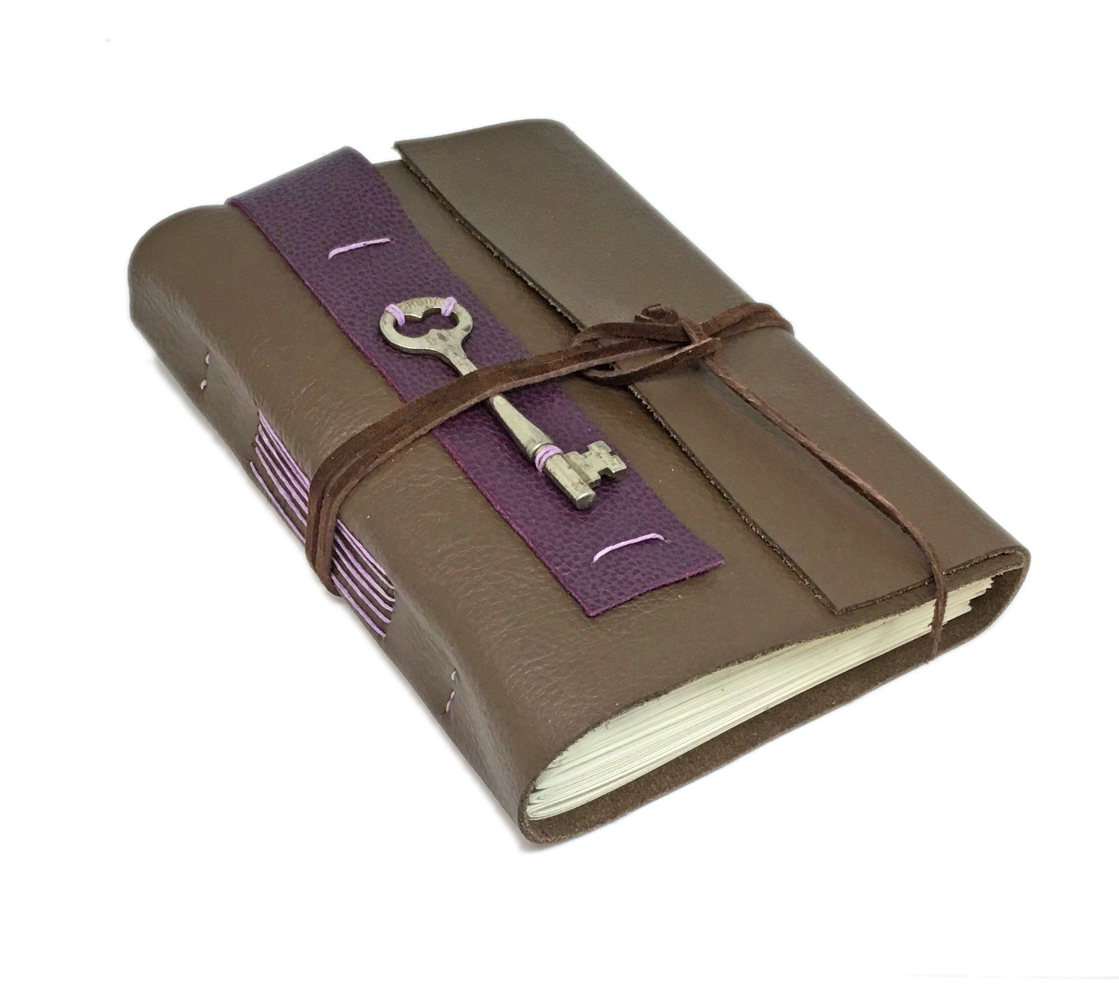 Brown Leather Journal With Lined Paper And Skeleton Key
