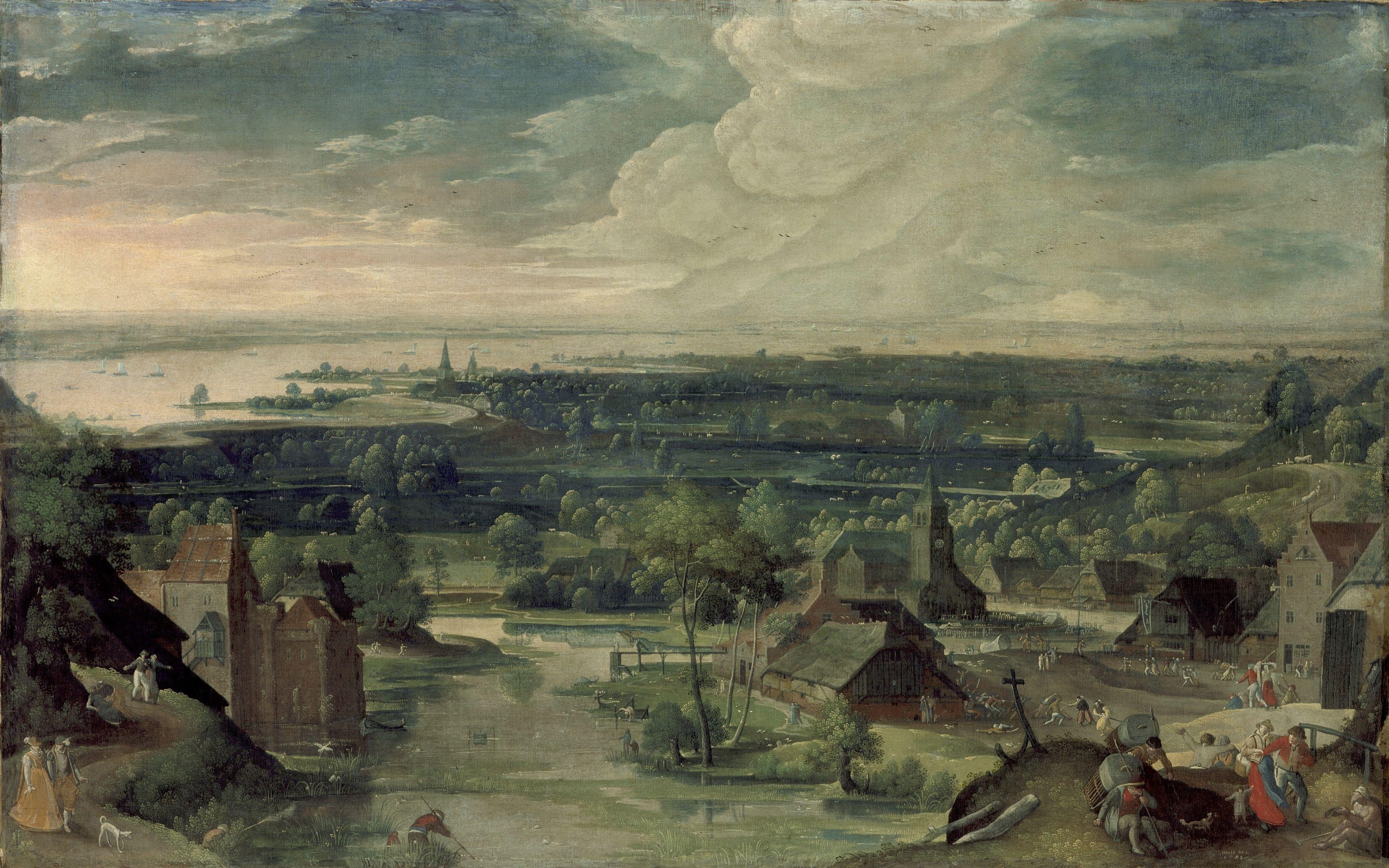 Hans Bol 'river Landscape ' 1578 Los Angeles County