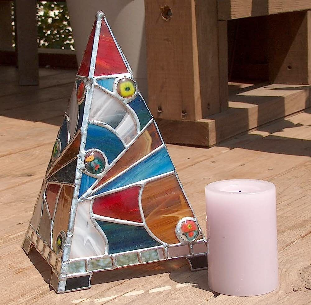 Stained Glass Candle Shade - Aurora Borealis. $158.00, via Etsy.