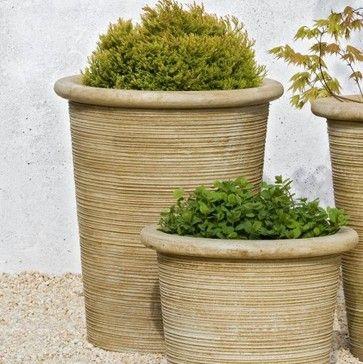Campania International Pima Cast Stone Planter Aged Limestone Contemporary Outdoor  Planters