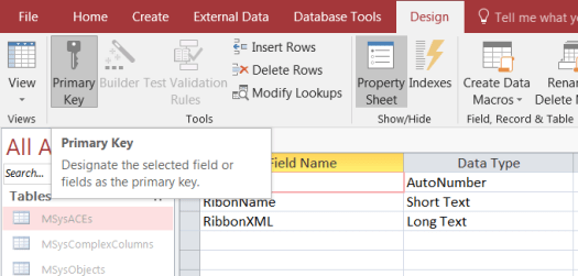 Hide the Ribbon When Launching Ms access database