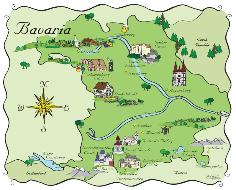 We Haven't Shown Any Maps For A Bit But Just Love This Map Of: Bavaria Germany Map At Infoasik.co