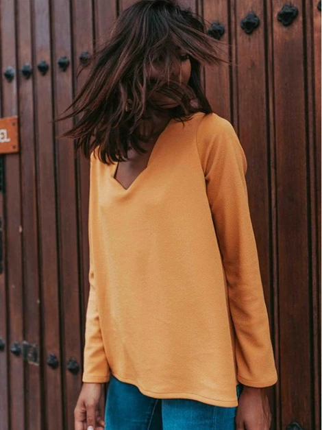 Long Sleeves V-neck Blouses&shirts Tops in 2020 | Shirt style, Tops, Blouse designs