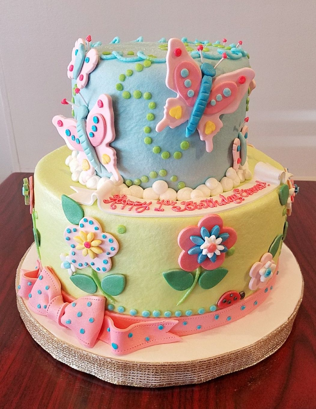 Peachy Spring Butterflies And Flowers Cake Adrienne Co Bakery Funny Birthday Cards Online Barepcheapnameinfo