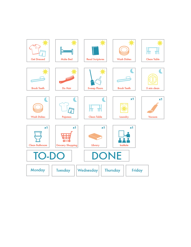 Free printable for daily routines or a chore chart.