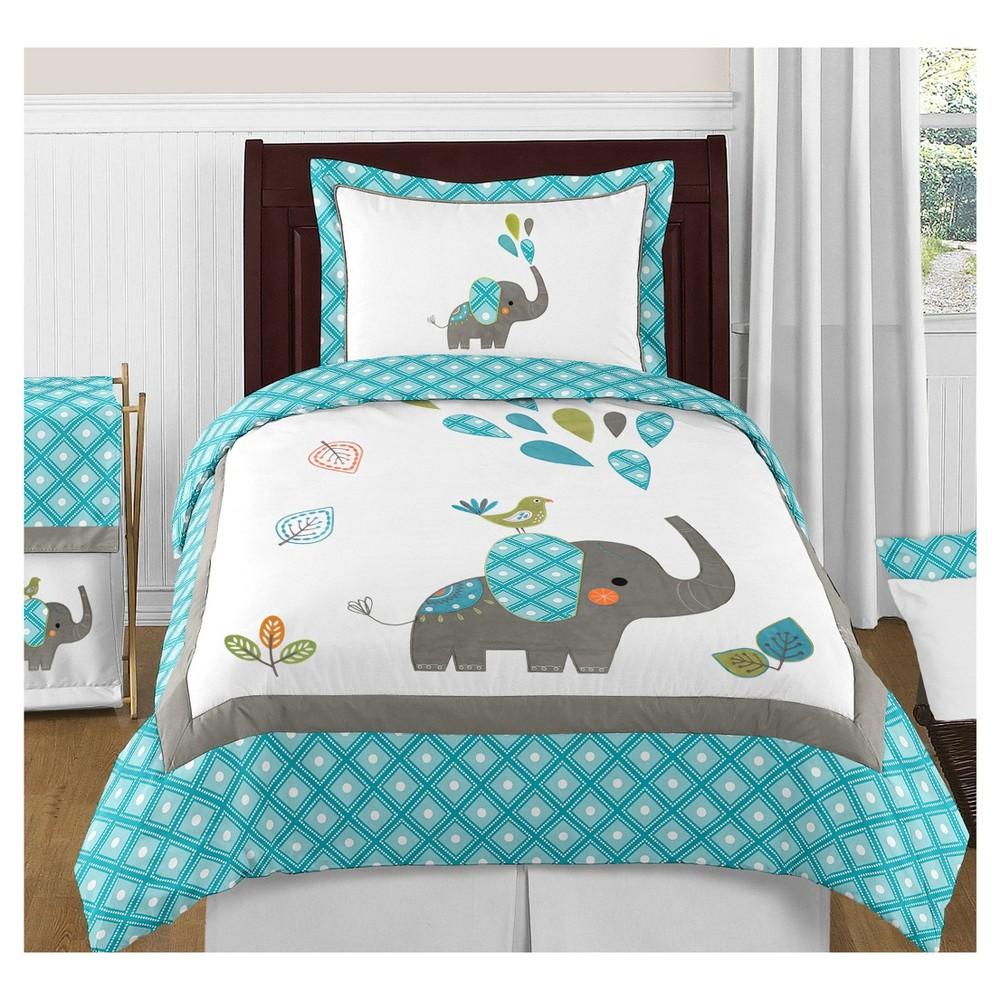 Turquoise & White Mod Elephant Comforter Set (Twin