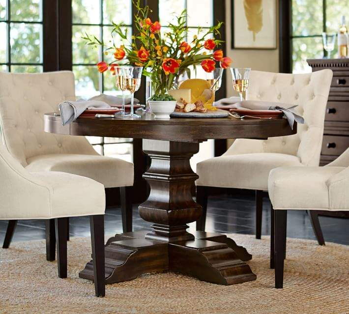Banks Round Pedestal Extending Dining Table Alfresco Brown Round Pedestal Dining Table Round Pedestal Dining Side Chairs Dining