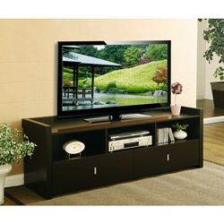 Valenciara Coffee Bean Entertainment Console  Overall Rating Rating 4.3  |  267 reviews  |  Write a review  Sale $166.49  Today $184.99  Save $18.50 (10%)  Item #: 12981134        This brown entertainment console displays your television in style. The sleek, low-profile design fits well with most contemporary decor. Three compartments and two drawers provide you with enough space for your media collection and accessories