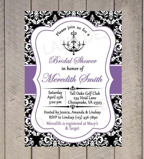 90b324c91f061 Bridal Shower Printable Invitation - Chandelier, Black White and ...