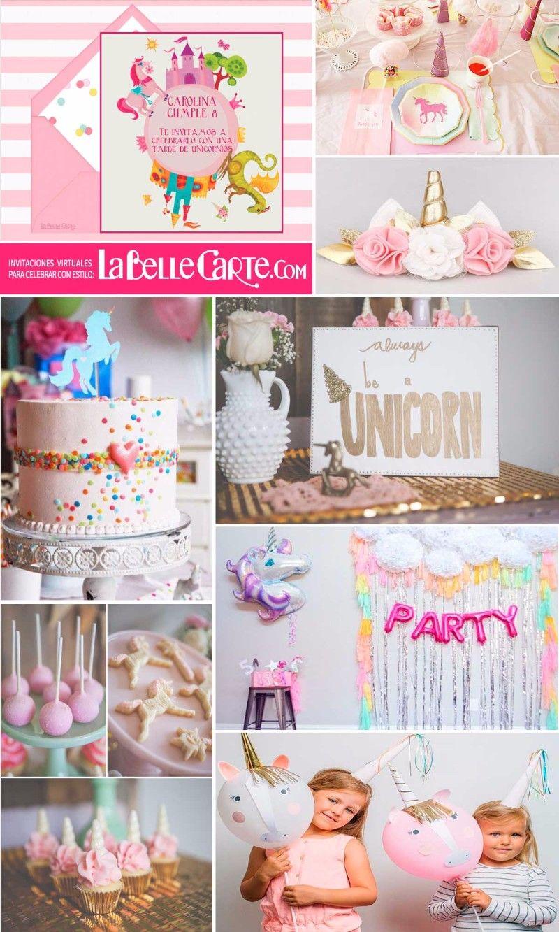 Invitaciones Infantiles, Invitaciones para fiestas Infantiles, cumpleanos de unicornios, Fiesta