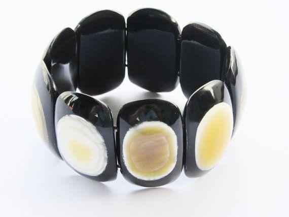 Bead bracelet chunky stretch link beaded jewelry by Fineoxjewelry, $16.70