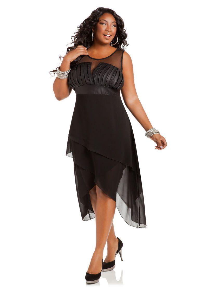 Pleated Faux Leather and Chiffon Dress - Ashley Stewart