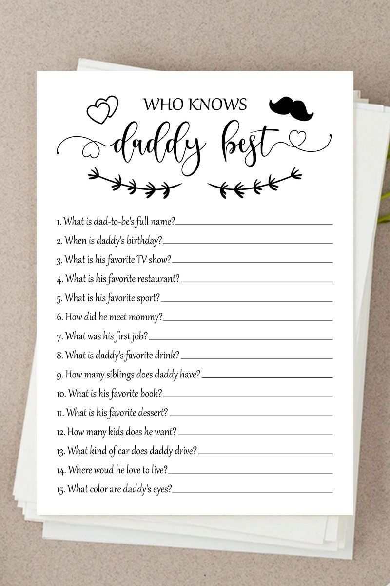 Who Knows Daddy Best, Classic Baby Shower, Who Knows Daddy, Baby Shower Games, Rustic Baby Shower, Kraft Paper Baby Shower #143