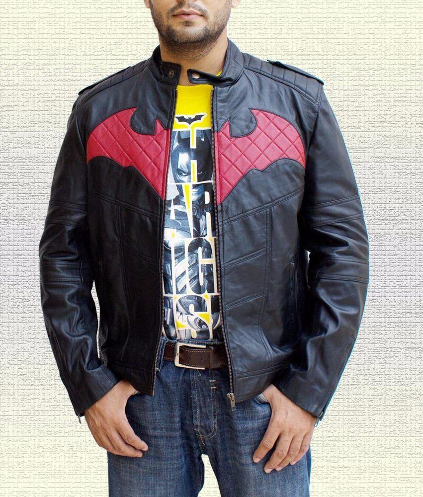 Batman Beyond Red Bat Logo Handmade Black Sheep Leather Jacket Sizes S To 5xl Sheep Leather Leather Jacket Batman T Shirt [ 1000 x 851 Pixel ]